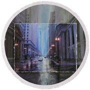 Chicago Rainy Street Expanded Round Beach Towel