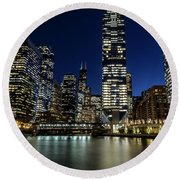 Chicago River And Skyline At Dusk  Round Beach Towel