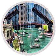Round Beach Towel featuring the painting Chicago River Boat Migration by Christopher Arndt