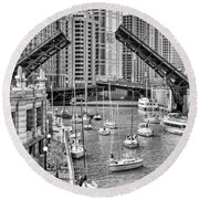 Round Beach Towel featuring the photograph Chicago River Boat Migration In Black And White by Christopher Arndt