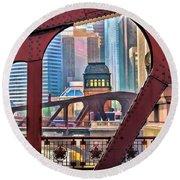 Round Beach Towel featuring the painting Chicago River Bridge Framed by Christopher Arndt