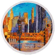 Chicago River Bridges Round Beach Towel