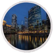 Chicago River Reflections At Dusk  Round Beach Towel