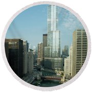 Chicago River Skyline Round Beach Towel by John Black