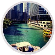 City Of Chicago - River Tour Round Beach Towel