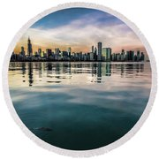 Chicago Skyline And Fish At Dusk Round Beach Towel