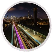 Chicago Skyline And Train Lights Round Beach Towel