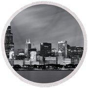 Chicago Skyline At Night Black And White  Round Beach Towel by Adam Romanowicz
