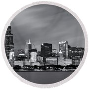 Round Beach Towel featuring the photograph Chicago Skyline At Night Black And White  by Adam Romanowicz