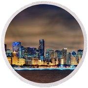 Chicago Skyline At Night Panorama Round Beach Towel by Jon Holiday