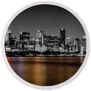 Chicago Skyline - Black And White With Color Reflection Round Beach Towel