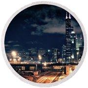 Chicago Skyline Cityscape At Night Round Beach Towel
