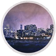 Chicago Skyline From Evanston Round Beach Towel by Scott Norris