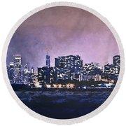 Chicago Skyline From Evanston Round Beach Towel by Scott Norris