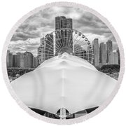 Round Beach Towel featuring the photograph Chicago Skyline From Navy Pier Black And White by Adam Romanowicz