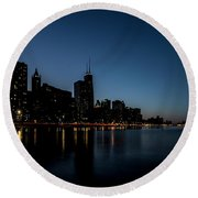 Chicago Skyline From Olive Park  Round Beach Towel