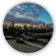 Chicago Skyline From The Museum Campus Round Beach Towel