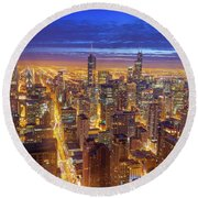 Chicago Skyline Round Beach Towel by Jess Kraft