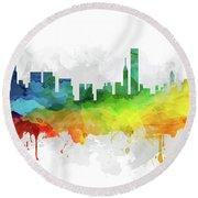 Chicago Skyline Mmr-usilch05 Round Beach Towel by Aged Pixel