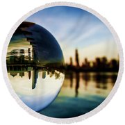Chicago Skyline Though A Glass Ball Round Beach Towel