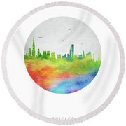 Chicago Skyline Usilch20 Round Beach Towel by Aged Pixel