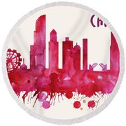 Chicago Skyline Watercolor Poster - Cityscape Painting Artwork Round Beach Towel