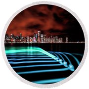 Chicago Skyline With Blue Pixel Stick Light Painting Round Beach Towel