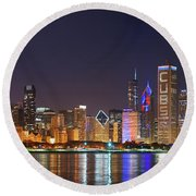 Chicago Skyline With Cubs World Series Lights Night, Chicago, Cook County, Illinois,  Round Beach Towel by Panoramic Images