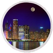 Chicago Skyline With Cubs World Series Lights Night, Moonrise, Lake Michigan, Chicago, Illinois Round Beach Towel