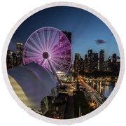 Chicago Skyline With New Ferris Wheel At Dusk Round Beach Towel