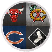 Chicago Sports Fan Recycled Vintage Illinois License Plate Art Bulls Blackhawks Bears And White Sox Round Beach Towel