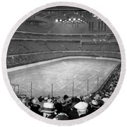 Round Beach Towel featuring the photograph Chicago Stadium Prepared For A Chicago Blackhawks Game by Celestial Images