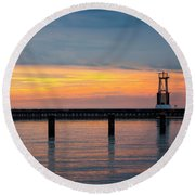 Round Beach Towel featuring the photograph Chicago Sunrise At North Ave. Beach by Adam Romanowicz