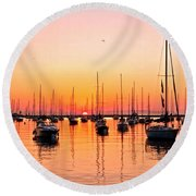 Chicago Sunrise Round Beach Towel