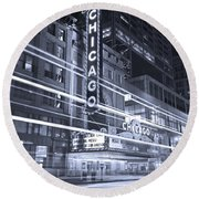 Chicago Theater Marquee B And W Round Beach Towel