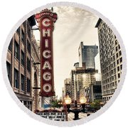 Chicago Theater Round Beach Towel