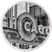 Chicago Theatre Marquee Black And White Round Beach Towel