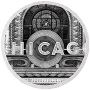 Chicago Theatre Marquee Sign Black And White Round Beach Towel
