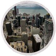 Chicago View From 70th Floor Round Beach Towel