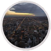 Round Beach Towel featuring the photograph Chicago Westward by Steven Sparks