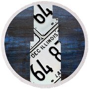 Chicago Windy City Harris Sears Tower License Plate Art Round Beach Towel by Design Turnpike