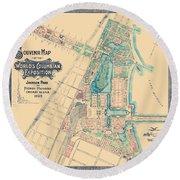 Chicago World's Fair - Columbian Exposition Map - 1893 Round Beach Towel