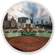 Chicago's Buckingham Fountain Round Beach Towel by Sean Foster