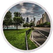 Chicago's Lake Shore Drive Round Beach Towel