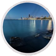 Chicago's Lakefront And Skyline At Dawn  Round Beach Towel