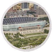 Chicago's Soldier Field Aerial Round Beach Towel by Adam Romanowicz
