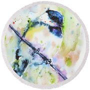 Round Beach Towel featuring the painting Chick-a-dee-dee-dee by Zaira Dzhaubaeva