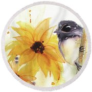 Round Beach Towel featuring the painting Chickadee And Sunflowers by Dawn Derman