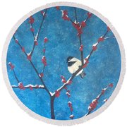 Round Beach Towel featuring the painting Chickadee Bird by Denise Tomasura