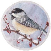 Chickadee Dee Dee Round Beach Towel